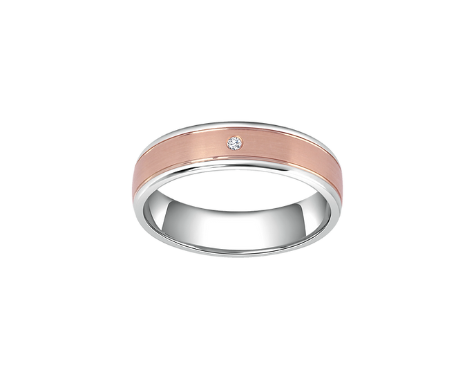 Two-Tone Gold Matte Band with Diamond Accent and Polished Lining - Women