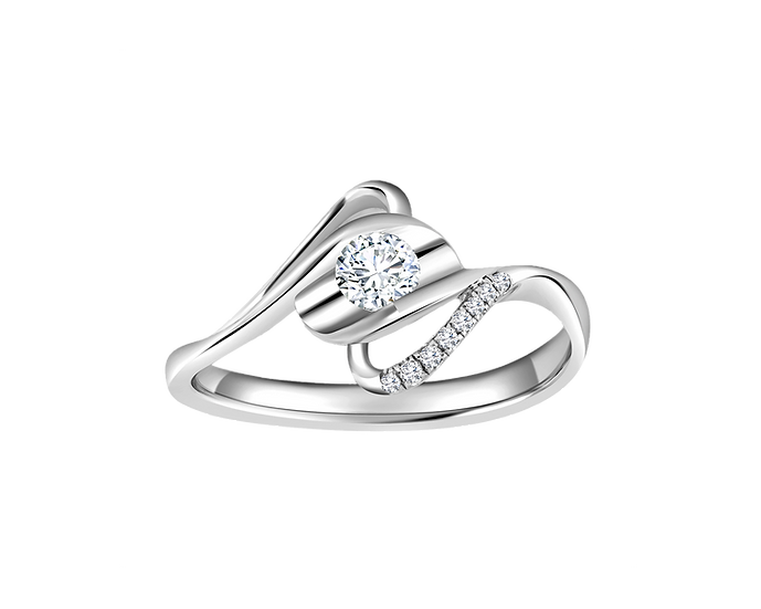 .15 CT Free Form Bypass Engagement Ring with Bead Setting .028 CT TW