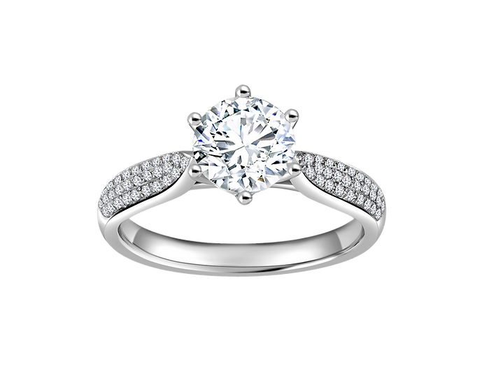 1 CT Cathedral Engagement Ring with Pavé Setting .35 CT TW