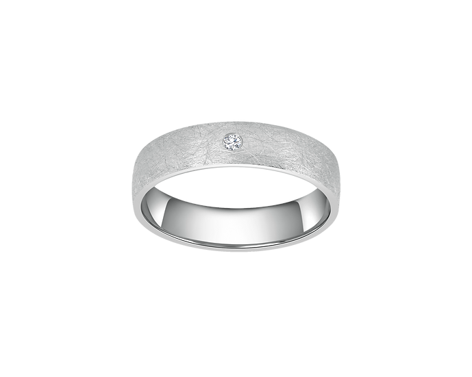Brushed Matte Gold Band with Diamond Accent - Women