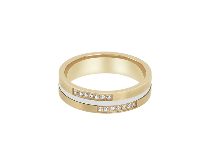 Diamond Accented Two-Tone Matte Gold Band with Polished Central Highlight - Wome