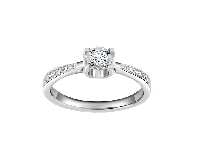 .10 CT Pronged Engagement Ring with Channel Setting .060 CT TW