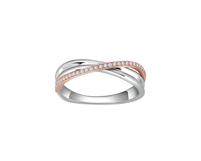 Diamond Accented Two-Tone Gold Infinity Band - Women