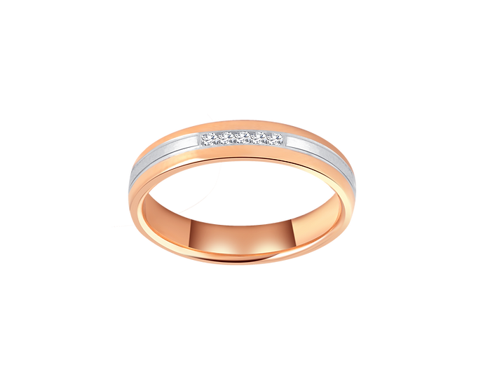 Diamond Accented Two Tone Gold Band with Matte Central Highlight - Women
