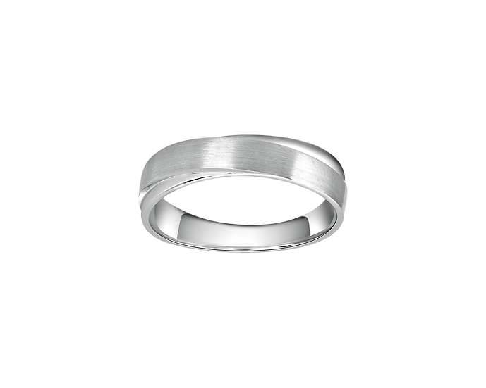 Matte Gold Infinity Band with Polished Highlights and Interior Diamond - Men