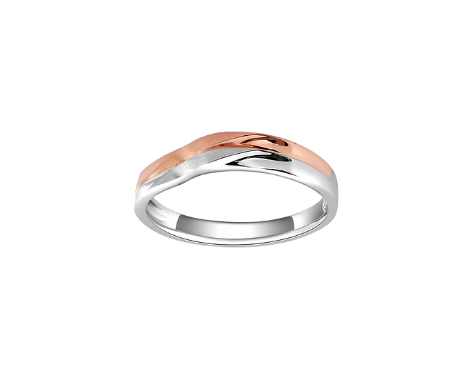 Polished Arched Two-Tone Gold Band with Interior Diamond - Men