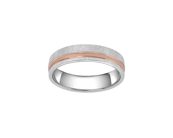 Two-Tone Gold Brushed Matte Band with Polished Highlight - Men