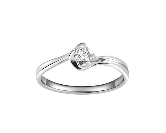 .08 CT Three Petal Flower Solitaire Bypass Engagement Ring