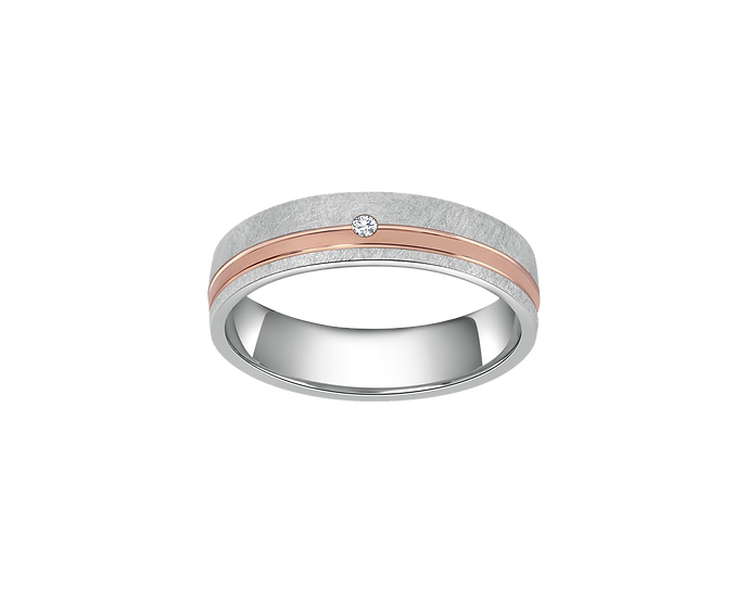 Two-Tone Gold Brushed Matte Band with Diamond Accent and Polished Highlight - Wo