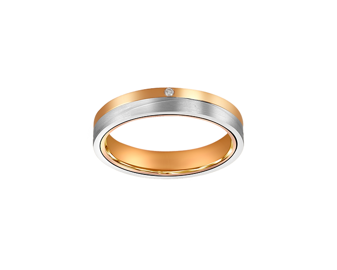 Two-Tone Line Matte Gold Band with Diamond Accent and Polished Highlight - Women