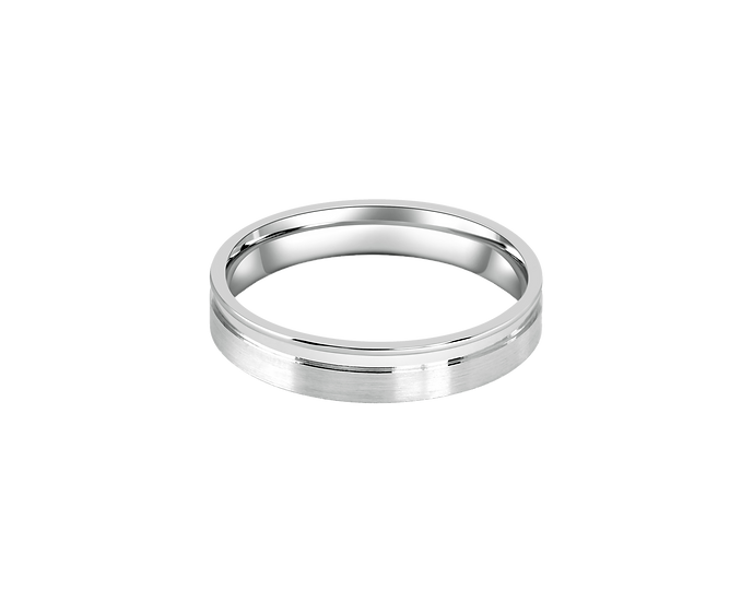 Matte Gold Band with Polished Lining - Men