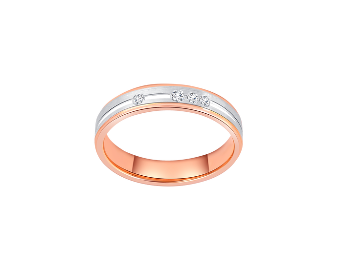 Two-Tone Gold Band with Dramatic Diamond Accent