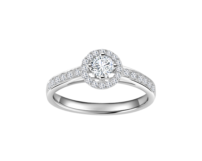 .30 CT Halo Engagement Ring with Channel Setting .23 CT TW
