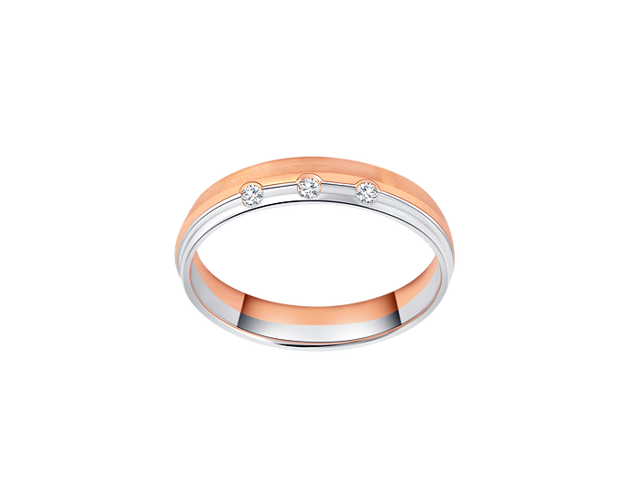 Two-Tone Gold Band with Triple Diamond Accent
