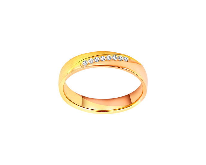 Two-Tone Streaked Gold Band with Channel Setting