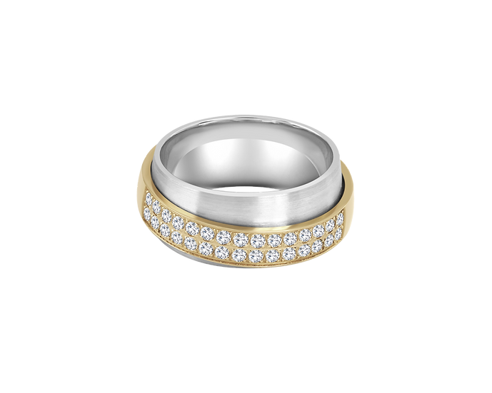 Diamond Clustered Double Gold Band - Women