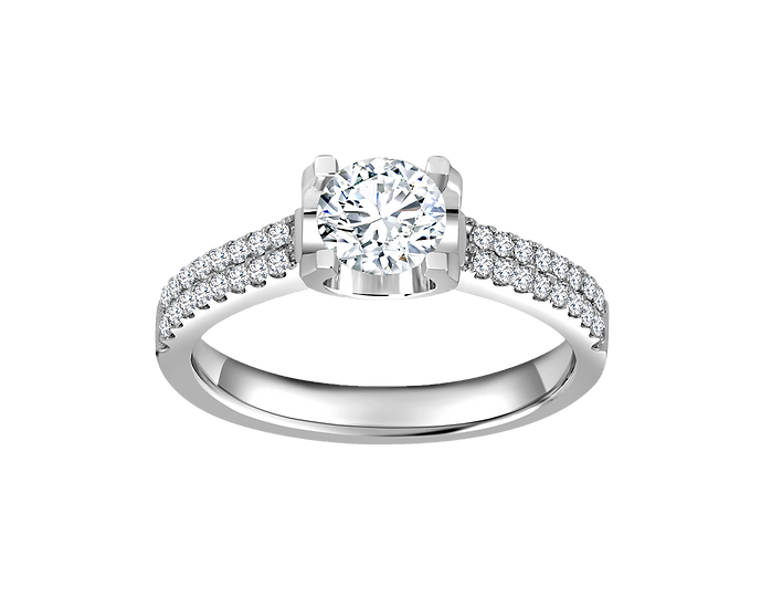 .70 CT Cathedral Engagement Ring with Pavé Setting .45 CT TW