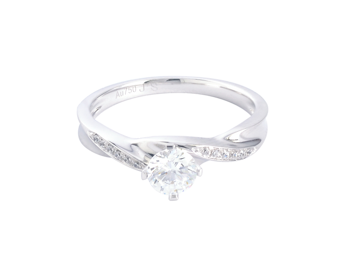 .30 CT Diamond Bypass Engagement Ring with Diamond Accent .044 CT TW