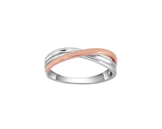 Two-Tone Gold Infinity Band with Interior Diamond - Men