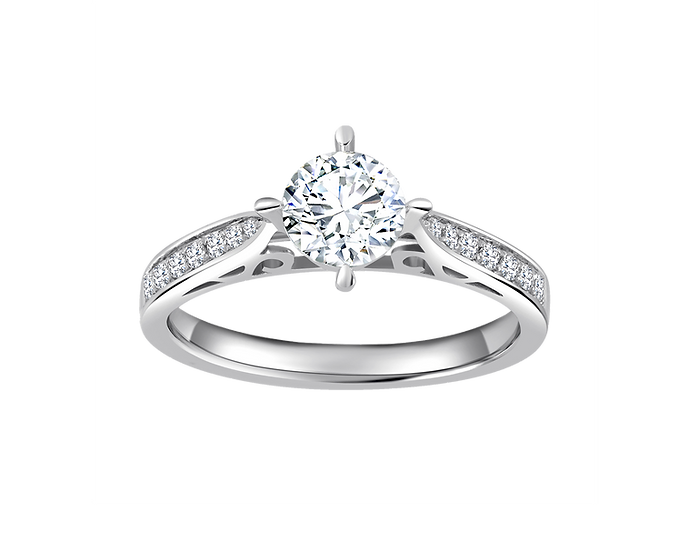 .60 CT Cathedral Engagement Ring with Channel Setting .40 CT TW