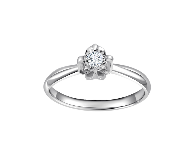 .05 CT Tapered Flower Solitaire Engagement Ring