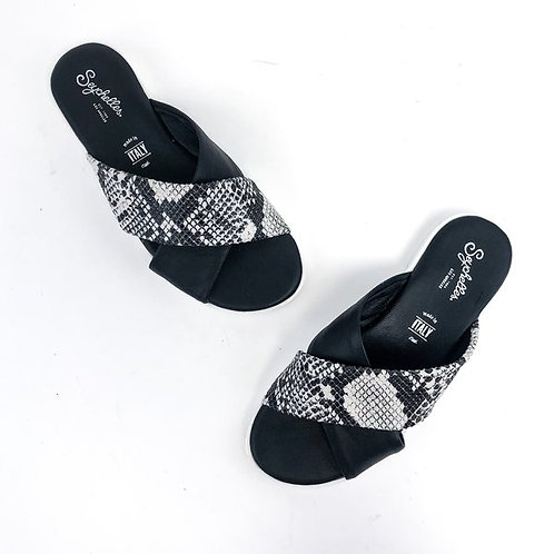 Seychelles Enjoyment Criss Cross Platform Sport Sandal in Black White Python