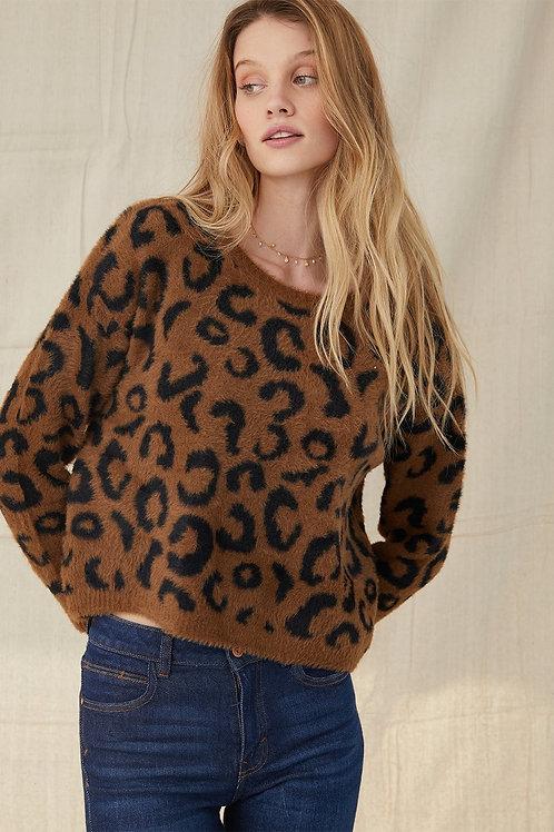 Bella Dahl Leopard Crew Neck Sweater