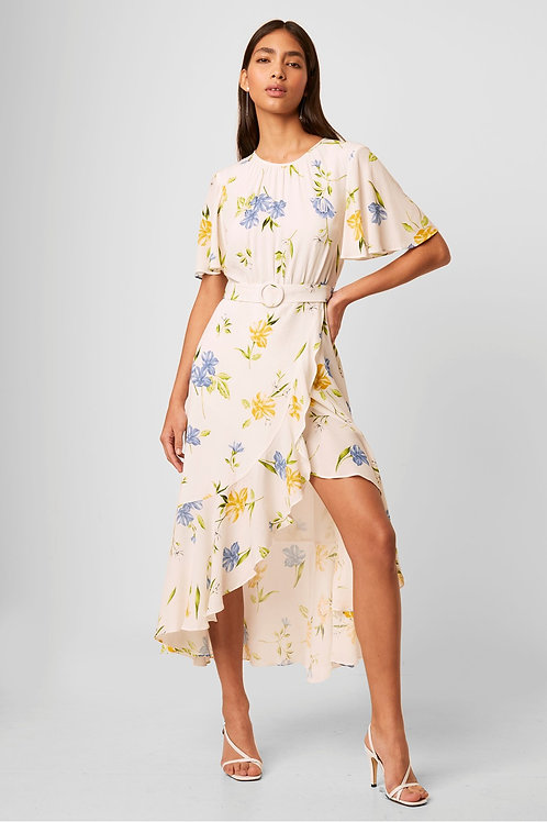 French Connection Emina Drape Cascade Hem Belted Dress in White Floral