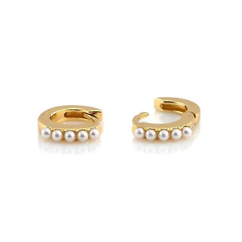Kris Nations Pearl Hoop Huggie Earring