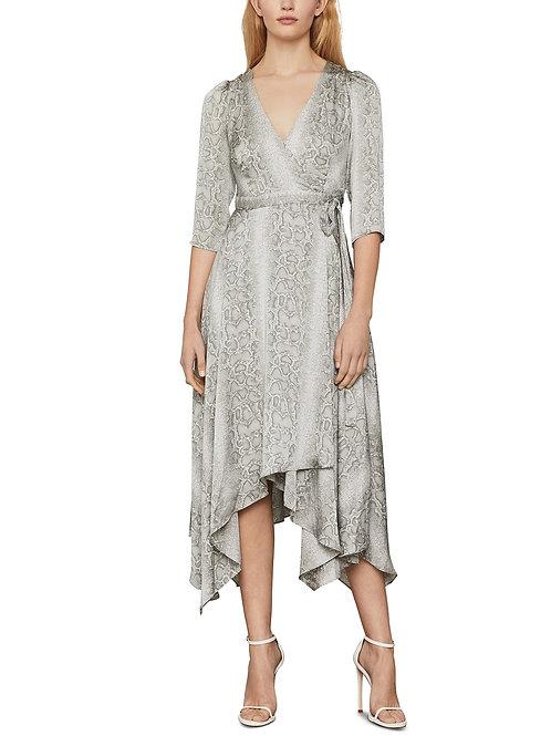 BCBGMAXAZRIA Python Print Wrap Dress in Grey Frost