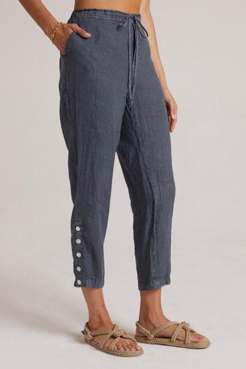 Bella Dahl Linen Cropped Side Button Pant in Storm Night
