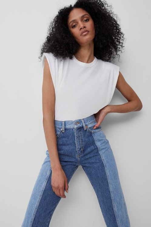 French Connection Shoulder Pad Jersey Tank Top in White