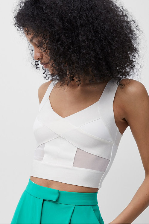 French Connection Tella Wrapped Jersey Crop Top in White