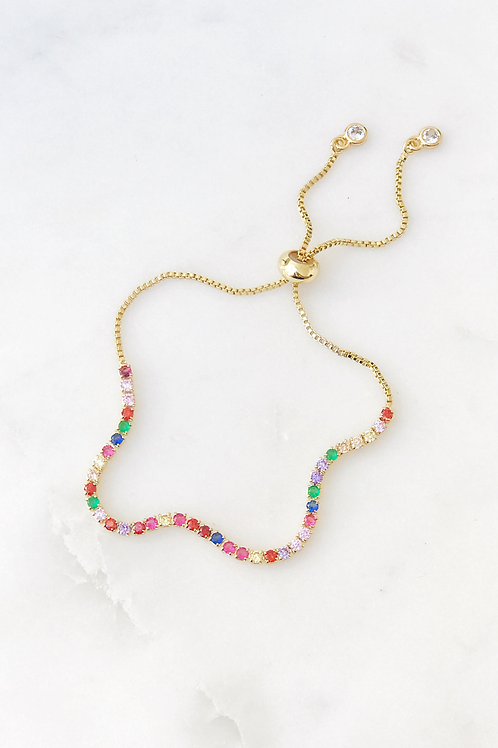 The Lucky Collective Delicate Rainbow Pull Tie Bracelet