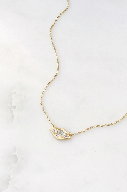 The Lucky Collective CZ Evil Eye Necklace