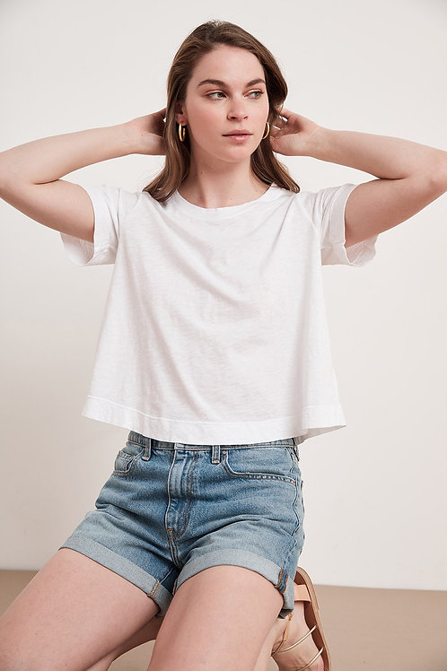 Velvet by Graham & Spencer Lula Cotton Slub Swing Tee in White
