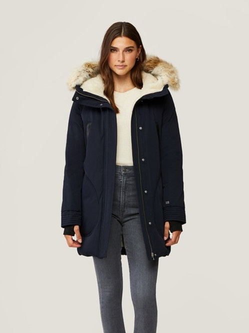 Soia & Kyo Saundra Classic Down Coat with Removable Fur in Indigo