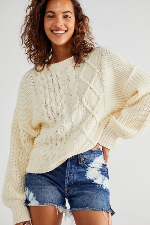 Free People Dream Cable Crewneck Sweater