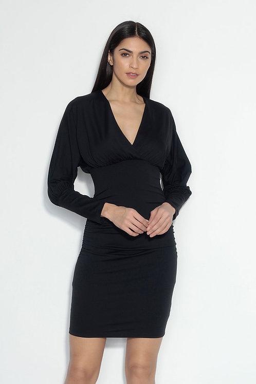 Susana Monaco Ruched Long Dolman Sleeve Dress in Black