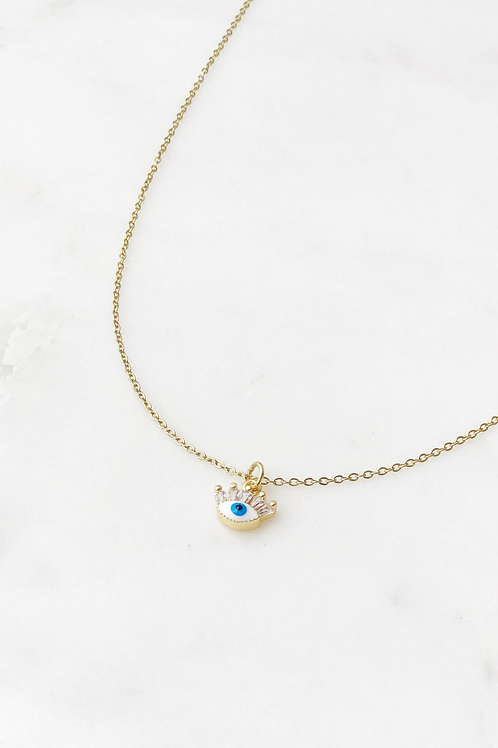 The Lucky Collective Little Evil Eye Lash Necklace