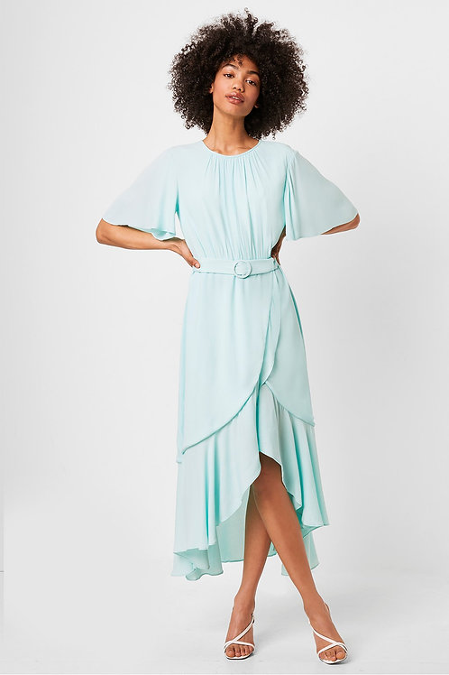 French Connection Emina Drape Cascade Hem Belted Dress in Glass Mint