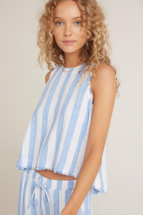 Bella Dahl Fray Swing Button Back Top in Sky Blue Stripe