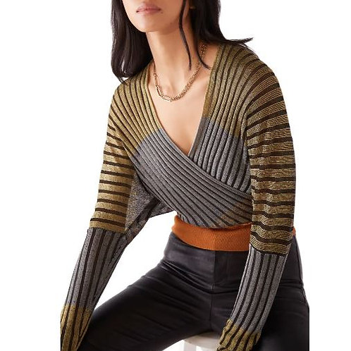 Free People Pluto Faux Wrap Top in Center Stage Combo