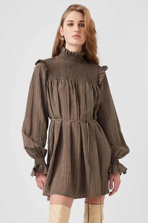 French Connection Boza Crinkle Smocked Neck Dress