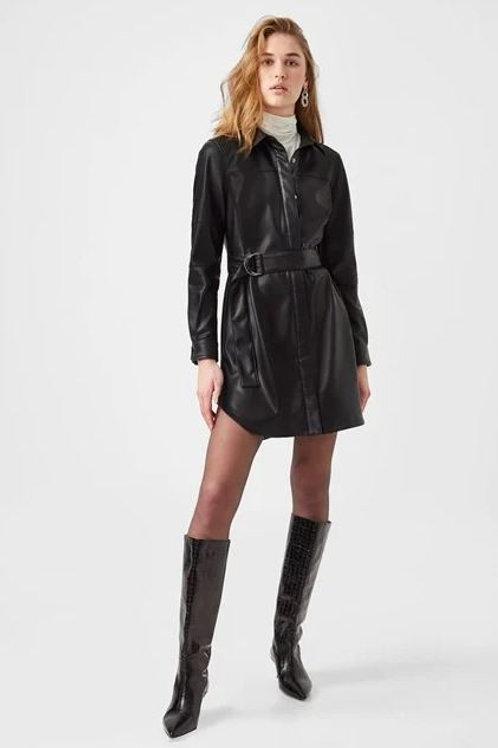 French Connection Patti Vegan Leather Mini Shirt Dress