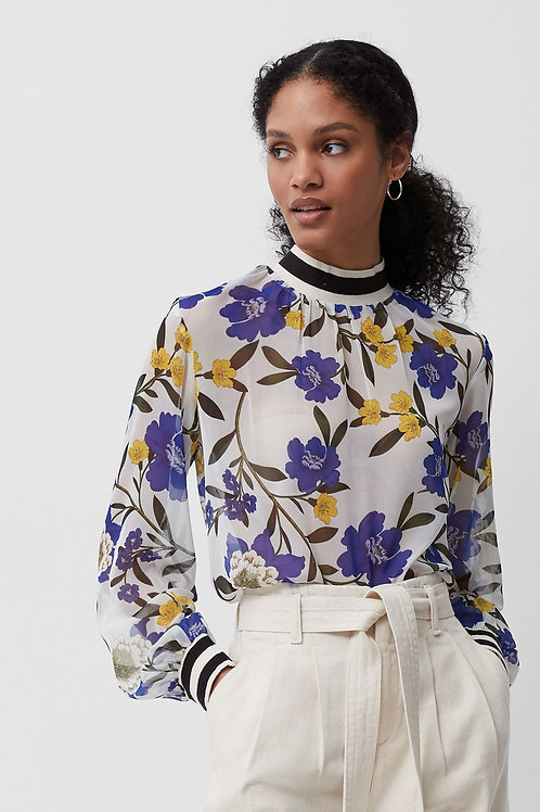 French Connection Eloise Crinkle Sheer Floral Top