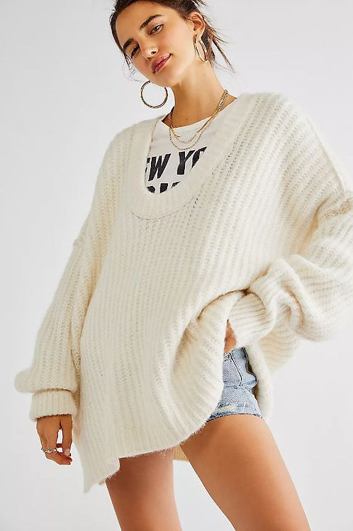 Free People Blue Bell V-Neck Sweater