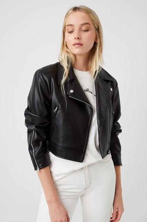 French Connection Crolenda Vegan Leather Biker Jacket