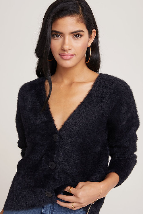 Bella Dahl Fuzzy Knit Cardigan Sweater