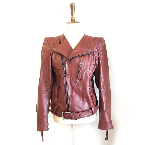 Jennifer Haley Leather Moto Jacket in Sienna Red